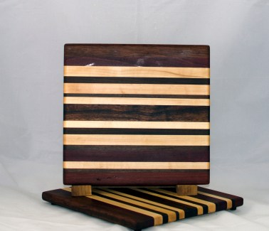 "Cheese Board 17 - 328. Black Walnut, Hard Maple, Purpleheart & Jatoba. 9"" x 11"" x 5/8""."