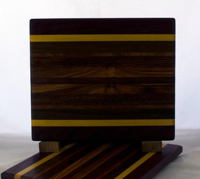 "Cheese Board 17 - 339. Purpleheart, Yellowheart, Canarywood & Bubinga. 8"" x 11"" x 5/8""."