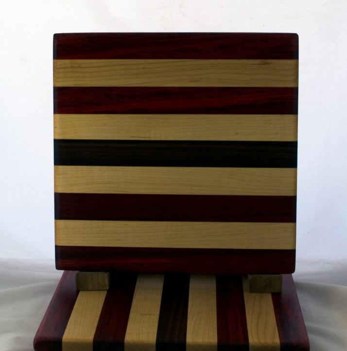 "Cheese Board 17 - 340. Padauk, Hard Maple & Black Walnut. 10"" x 11"" x 5/8""."
