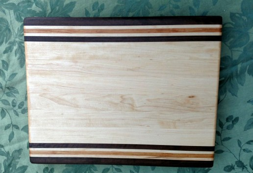 "Cutting Board 17 - 127. Edge grain. Black Walnut, Hard Maple & Cherry. 14"" x 18"" x 1-1/4""."