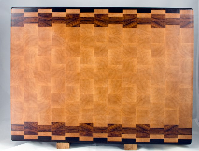 "Cutting Board 17 - 433. Jatoba, Hard Maple & Canarywood. End grain. 16"" x 21"" x 1-1/2"". Commissioned piece."