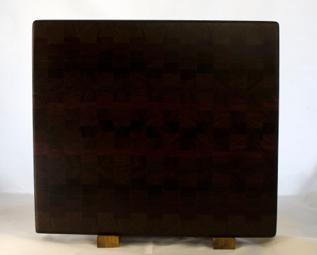"Cutting Board 17 - 434. Black Walnut, Padauk, Pau Ferro & Jatoba. End Grain. 14"" x 15"" x 1-1/4""."