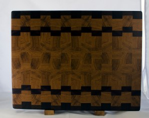 "Cutting Board 17 - 435. Black Walnut, Hickory & Bloodwood. End grain. 16"" x 20"" x 1-1/2""."