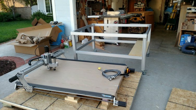 Rolling stand moved out of the shop so the CNC could be mounted on it.