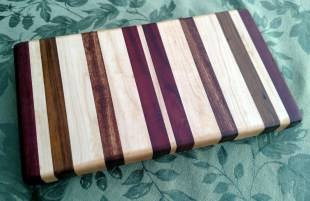 "Small Board 17 - 231. Purpleheart, Jatoba, Hard Maple and Bloodwood. 7"" x 12"" x 1-1/4""."