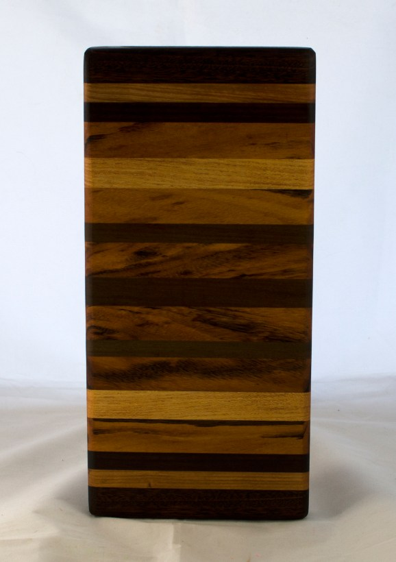"Small Board 17 - 236. Goncalo Alves, Jatoba, Black Walnut, Honey Locust & Cherry. 6"" x 14"" x 1-1/4""."
