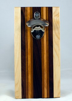 Magic Bottle Opener 17 - 647. Honey Locust, Pau Ferro, Sapele & Honey Locust. Double Magic - means it can fridge mount or wall mount.