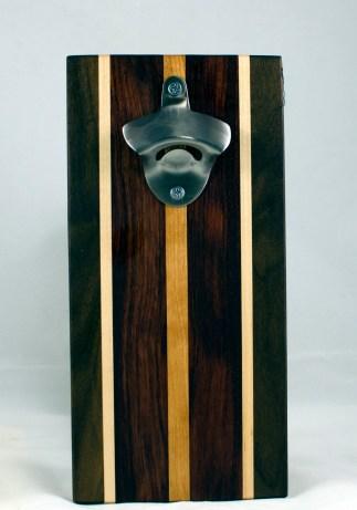 Magic Bottle Opener 17 - 650. Black Walnut, Hard Maple, Bubinga & Cherry. Double Magic - means it can fridge mount or wall mount.