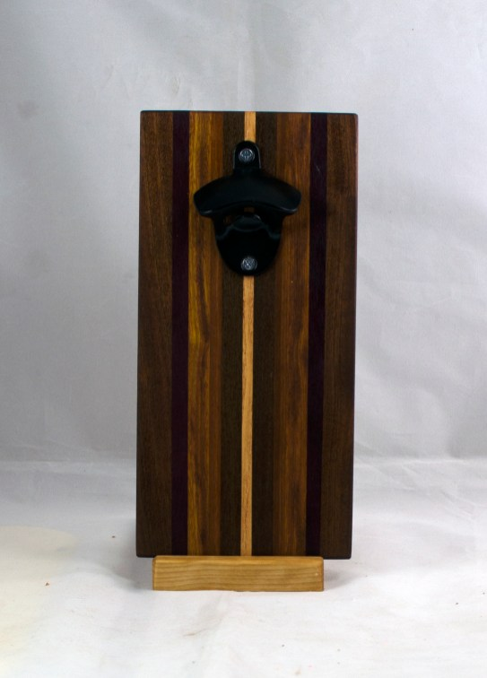 Magic Bottle Opener 17 - 667. Black Walnut, Purpleheart, Canarywood & Hard Maple. Double Magic.