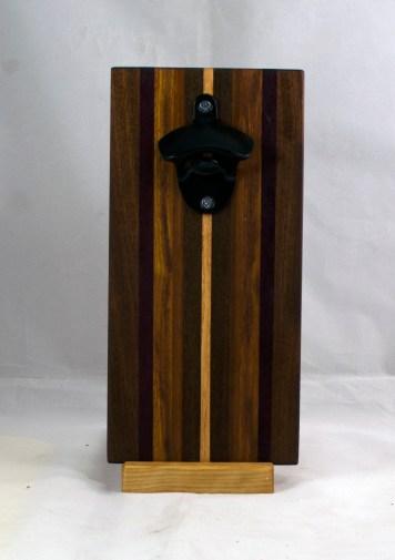 Magic Bottle Opener 17 - 673. Black Walnut, Purpleheart, Canarywood & Hard Maple. Double Magic.