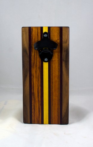 Magic Bottle Opener 17 - 917. Black Walnut, Purpleheart, Canarywood & Yellowheart. Single Magic = Wall mount only!