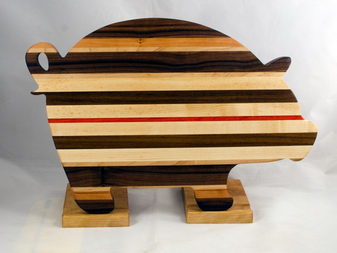 "Pig 17 - 703. Black Walnut, Padauk, Cherry & Hard Maple. 12"" x 19"" x 1-1/8""."