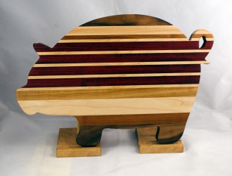 "Pig 17 - 704. Hickory, Hard Maple, Black Walnut, Padauk & Cherry. 12"" x 19"" x 1-1/8""."