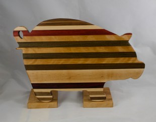 "Pig 17 - 711. Black Walnut, Hard Maple, Jatoba & Padauk. 12"" x 19"" x 1-1/8""."