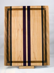 "Cutting Board 17 - 132. Hard Maple, Black Walnut & Purpleheart. Juice Groove. Edge Grain. 12"" x 16"" x 1-1/8""."