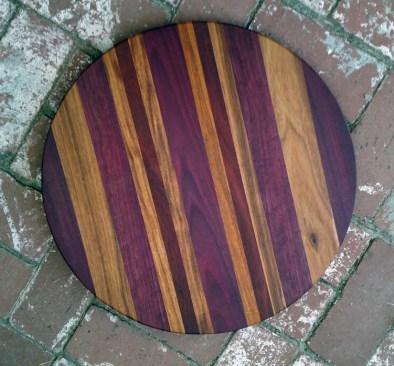 "Lazy Susan 17 - 18. Purpleheart, Canarywood & Bloodwood. 18"" diameter."