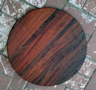 """Lazy Susan 17 - 19. Sapele & Caribbean Rosewood. 18"""" diameter."""