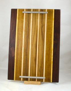 "Serving Tray 17 - 07. Black Walnut, Yellowheart, Teak & Hard Maple. 12"" x 18"" x 3/4""."