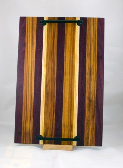 "Serving Tray 17 - 11. Purpleheart, Canrywood & Hard Maple. 12"" x 18"" x 3/4""."
