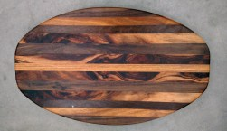Cheese & Cracker Server 17 - 14. Black Walnut, Canarywood & Goncalo Alves. Sold in its first showing.