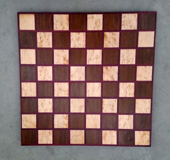 Chess 17 - 310. Birds Eye Maple, Black Walnut & Purpleheart.