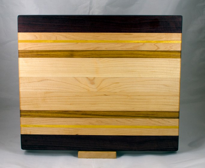 Cutting Board 17 - 140. Purpleheart, Yellowheart, Canarywood & Hard Maple.