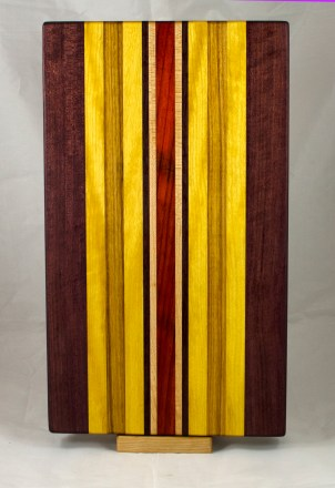 "Cutting Board 17 - 146. Purpleheart, Yellowheart, Canarywood, Hard Maple & Padauk. 12"" x 20"" x 1-1/4""."