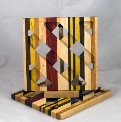 Trivet 17 - 11. Hard Maple, Jatoba, Yellowheart, Cherry & Padauk.