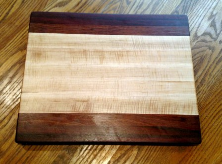 "Cutting Board 18 - 303. Black Walnut, Bloodwood, Jatoba & Hard Maple. Edge Grain. 14"" x 18"" x 1-1/4""."