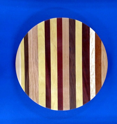 Lazy Susan 18 - 02. Chaos board. Hard Maple, Cherry, Black Walnut, Red Oak, Yellowheart, Jatoba, Bloodwood, Padauk and Birds Eye Maple.