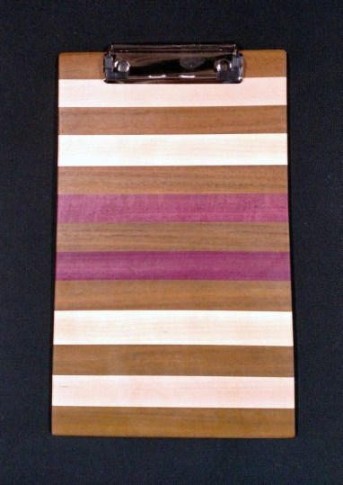 "Clipboard 18 - 801. Notepad size. Jatoba, Hard Maple & Purpleheart. 1/2"" clip."