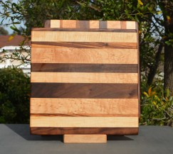 "Cheese Board 18 - 106. Goncalo Alves, Hard Maple, Black Walnut & Birds Eye Maple. Chaos Board. 9"" x 11"" x 5/8""."