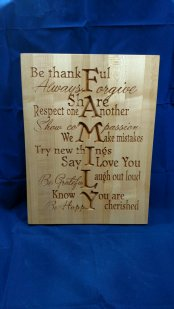 "CNC Sign 18 - 03 - Family. 12"" x 16"" x 3/4"". Sold in it's first showing."
