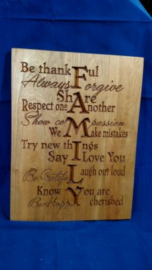"CNC Sign 18 - 04 - Family. Hard Maple. 12"" x 16"" x 3/4"". Sold in it's first showing."