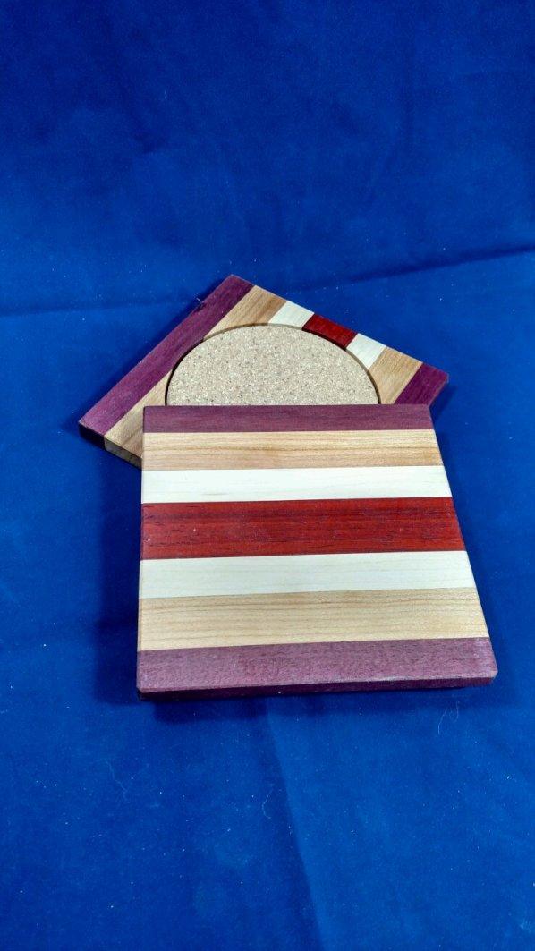 Coasters 18 - 18. Purpleheart, Cherry, Hard Maple & Padauk.
