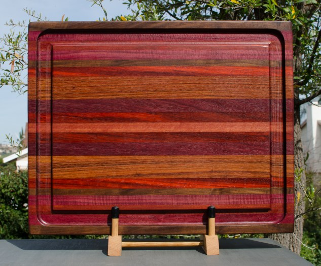 "Cutting Board 18 - 307. Black Walnut, Purpleheart, Bloodwood, Padauk & Jatoba. 17"" x 21"" x 1-1/2"". Commissioned Piece."