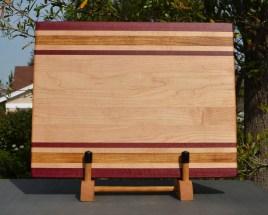 "Cutting Board 18 - 309. Purpleheart, Hard Maple & Canarywood. Edge Grain. 12"" x 16"" x 1-1/4""."