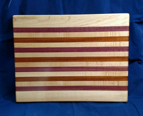 """Cutting Board 18 - 313. Hard Maple, Purpleheart & Jatoba. Edge grain. 14"""" x 18"""" x 1-1/8""""."""