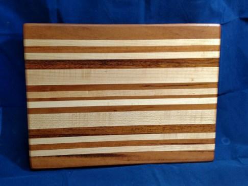 "Cutting Board 18 - 314. Goncalo Alves, Hard Maple & Jatoba. 12"" x 16"" x 1-1/8""."