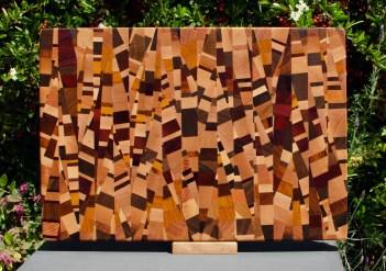 """Cutting Board 18 - 709. Chaos board, 13 species identified. End grain. 13"""" x 19"""" x 1-1/4""""."""