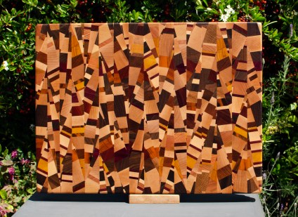 "Cutting Board 18 - 710. Chaos board, 13 species identified. End grain. 14"" x 18"" x 1-1/4""."