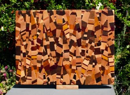 """Cutting Board 18 - 710. Chaos board, 13 species identified. End grain. 14"""" x 18"""" x 1-1/4""""."""