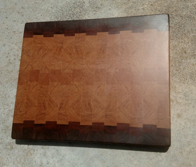 "Cutting Board 18 - 720. Black Walnut, Mesquite & Hickory. End grain. 17"" x 21"" x 1-1/2""."