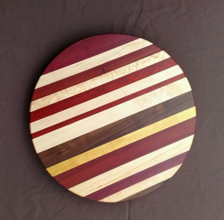 Lazy Susan 18 - 10. Chaos Board. Purpleheart, Bloodwood, Hard Maple, Black Walnut & Yellowheart.