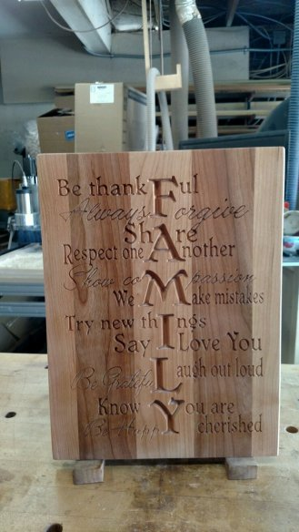 "CNC Sign 18 - 07 - Family. Cherry. 12"" x 16"" x 3/4""."
