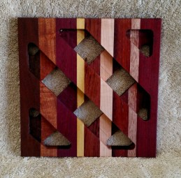 Trivet 18 - 721. Jarrah, Bubinga, Purpleheart, Yellowheart, Padauk & Hard Maple.