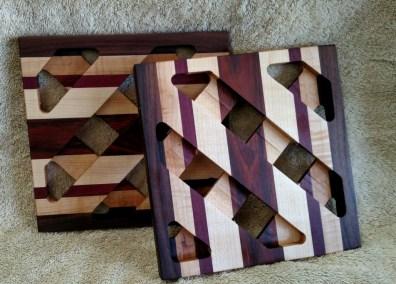 Trivet 18 -726. Black Walnut, Hard Maple, Purpleheart & Jatoba.