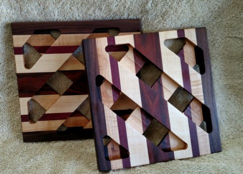Trivet 18 -726. Black Walnut, Hard Maple, Purpleheart & Jatoba.