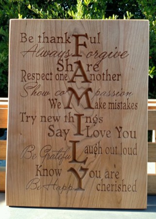 "CNC Sign 18 - 24 Family. Cherry. 12"" x 16""."
