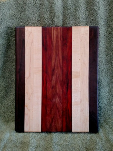 "Cutting Board 18 - 320. Black Walnut, Hard Maple & Padauk. 12"" x 16"" x 1-1/8""."
